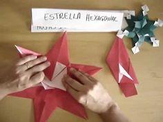 """""""Hexagonal Star"""" de Tomoko Fuse e Seiji Nishikawa. Usar a imaginação combinando módulos. É um cristal de gelo. BOAS DOBRAS! Lúcia Ninja Star Origami, Origami Stars, Christmas Stars, Booklet, Paper Cutting, Paper Crafts, Simple, Ice Crystals, Paper Engineering"""