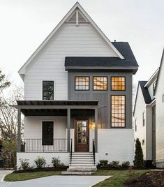 If you are looking for Farmhouse Exterior Design Ideas, You come to the right place. Below are the Farmhouse Exterior Design Ideas. House Paint Exterior, Exterior House Colors, Exterior Design, Grey Exterior, Facade Design, Modern Farmhouse Exterior, Farmhouse Design, Colonial Exterior, Craftsman Exterior