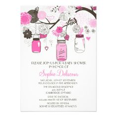 Hot Pink Mason Jars Floral Baby Shower Invitations