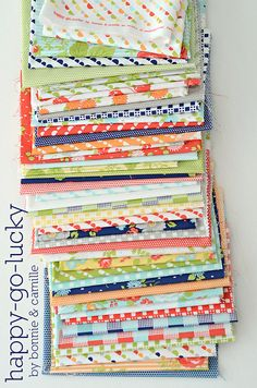 Love these fresh fun colors!! happy-go-lucky by Bonnie & Camille for Moda- in stores May 2013 #modafabric