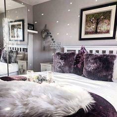 Purple Master Bedroom, Purple Bedroom Decor, Tranquil Bedroom, Grey Bedroom With Pop Of Color, Room Ideas Bedroom, White Bedroom, Bedroom Colors, Dark Purple Bedrooms, Bed Room