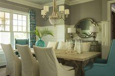 Martha O'Hara Interiors - dining rooms - Benjamin Moore - Ozark Shadows - gray and turquoise dining room, gray walls, gray wall color, gray ...