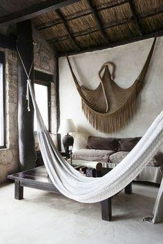 Einrichtungsideen Landhausstil Wohnzimmer Rustikale Möbel Hängematten