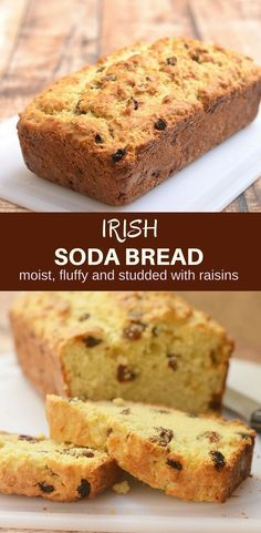 Irish Soda Bread with a delicious golden crust on the outside, moist and fluffy on the inside, and generously studded with plump raisins is the best quick bread loaf you'll ever have! MG, best Irish soda bread I've ever had! Bread Recipes, Baking Recipes, Dessert Recipes, Milk Recipes, Muffins, Irish Recipes, Scottish Recipes, Cuban Recipes, Lemon Recipes