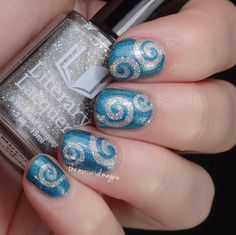 Sparkly Curls Nail Art Using Lou It Yourself Vinyls