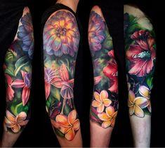 the best full sleeve tattoos Full Sleeve Tattoos, Sleeve Tattoos For Women, Tattoo Sleeve Designs, Floral Sleeve Tattoos, Skin Color Tattoos, Body Art Tattoos, Tatoos, Tropical Flower Tattoos, Colorful Flower Tattoo