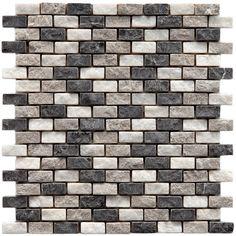 "EliteTile Grizelda 0.5"" x 1.25"" Natural Stone Mosaic Tile in Charcoal"