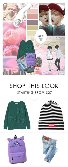 """""""ASTRO Sanha"""" by banana-lee ❤ liked on Polyvore featuring Seed Design, MANGO, ACHT and Dr. Martens"""