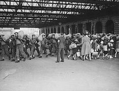World War Battle of Britain. Going in opposite directions, troops arrive in a London railroad station, as children are evacuated to the safer countryside. Dunkirk Ww2, Battle Of Dunkirk, The Blitz, British Prime Ministers, London History, Battle Of Britain, Lest We Forget, Reception Areas, World War Two