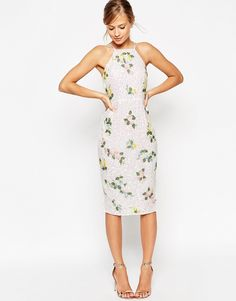 Image 2 ofASOS SALON Drape Back Floral Iridescent All Over Sequin Pencil Dress
