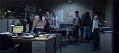(l-r) Claire Temple, Luke Cage, Karen Page, Foggy Nelson, Malcolm Ducasse, Trish Walker, Danny Rand, Colleen Wing & Jessica Jones (The Defenders, 1x08)