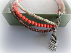 Heishi Bead Anklet Flip Flop Charm Anklet Coral by YoursTrulli, $32.00