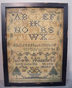 """2028: SAMPLER. """"Sarah Woolston's work done in the 15th : Lot 2028"""