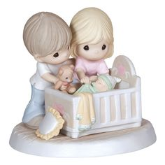 Precious Moments ''We're Glad'' Parents With Baby In Crib Figurine, Multicolor