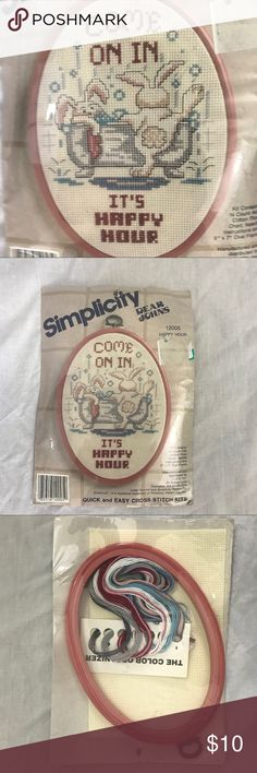 New Craft Crosstich Bathtub Bunnies Haapy Hour Kit New Unused in the package. Simplicity cross stitch Needlepoint kit. Great gift. Comes with embroidery hoop, thread, canvas, and instructions. Simplicity Other