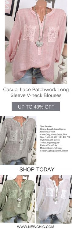 Casual Lace Patchwork Long Sleeve V-neck Blouses For Women [Newchic Online Shopping] Women's Casual Lace Patchwork Blouses with Long Sleeve and V-neck Casual Dresses, Casual Outfits, Women's Casual, Fashion Outfits, New Fashion Trends, Blouses For Women, Costume, Online Shopping, My Style