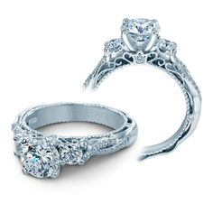 The most-pinned engagement ring on Pinterest: $4,300 intricate Verragio diamond ring with 18k white gold with 0.45 carats of sparkling diamonds, featuring a diamond twisted split shank along with lace embellishments // Popular Diamond engagement ring inspiration