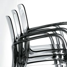 Loewenstein - Tiffany stack chair, clear with polished chrome arms and legs