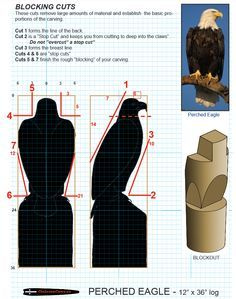 Chainsaw carving patterns free Preched Eagle 1/3