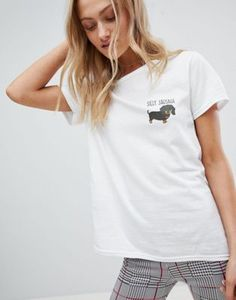 Daisy Street T-Shirt With Sausage Dog Print