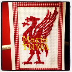 Liverpool FC liver bird cross stitched card at www.facebook.com/thelittleboat Cross Stitch Cards, Liverpool Fc, Crotchet, Flag, Bird, Facebook, Patterns, Knitting, Block Prints
