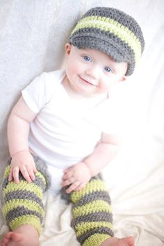Crochet Legwarmers and Newsboy Hat Set, Grey and Lime Green, Baby Boy, Child, Toddler, Photo Prop. $44.00, via Etsy.
