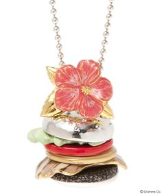 Hawaiian Burger necklace<Hibiscus/Lettuce/Tomato/Onion/Bacon/Meat×Buns(Gold)+Hibiscus>