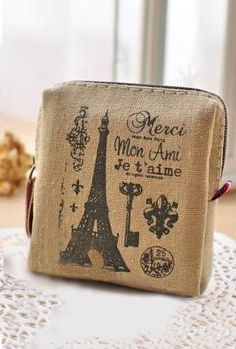 Nostalgic Memories Vintage Print Canvas Coin Purse in Khaki | Sincerely Sweet Boutique