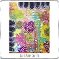 I love this mixed media art by Susan Gallitto using the Dream Thicket Stamp Sheet from Paperbag Studios.