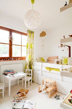 Like the bed- little girls room, via Flickr. and green leaf curtains