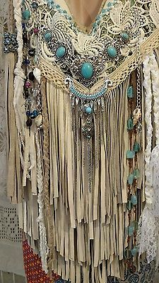 Handmade Ivory Leather Fringe Shoulder Bag Hippie Boho Hobo Vintage Lace tmyers