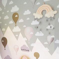 Hot Air Balloon Nursery-Hot Air Balloon Decals-Hot Air Balloon and Cloud Decal-Wall Stickers-Girl-Bedroom-Nursery Decor-Wall Sticker