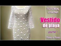 Cómo tejer un vestido de playa a crochet / tutorial en video   Crochet y Dos agujas - Patrones de tejido