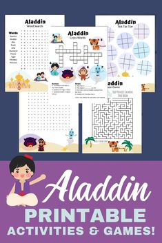 Super Fun Aladdin Printable Activities Pack For Kids This FREE Printable Activity Pack is great for a Disney vacation, waiting in line or at a restaurant, for a Disney-themed party, or to just get your kids excited about the Aladdin movie! Disney Activities, Disney Games, Printable Activities For Kids, Music Activities, Disney Theme, Disney Tips, Fun Games, Music Games, Aladdin Party