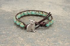 Cat Bracelet Silver Turquoise Crystals Dark Brown Leather Wrap Bracelet Artisan Pewter Unique Boho Chic Cat Jewelry on Etsy, $30.00