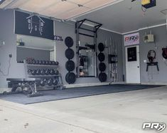PRx Performance – Lift Big in Small Spaces (as seen on Shark Tank!) The garage door is open in North Dakota! Home Gym Basement, Home Gym Garage, Diy Home Gym, Gym Room At Home, Home Gym Decor, Man Cave Garage, Garage House, Basement Workout Room, Basement Studio