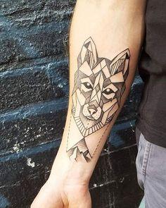 Geometric Wolf:: #tattoo by Yuki #vegantattoo #geometrictattoo #wolftattoo…