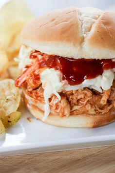 The tangy sweet sauce in these Instant Pot Hawaiian BBQ Chicken Sandwiches is so good! A quick dinner that is also a great freezer meal.
