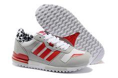 Damen Adidas ZX 700 Leder Leopard Running Schuhe Hellgrau / Rot ...
