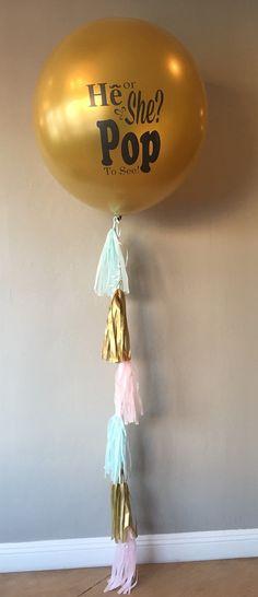 Gold Geschlecht offenbaren Ballon mit Quasten