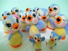 Twelve Felted Bluebirds of Happiness by Melanie's Menagerie