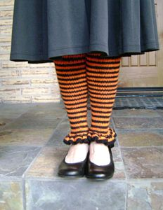 Hallowitch Warmers - knitted legwarmers for Halloween made with the Witch Warmers pattern.