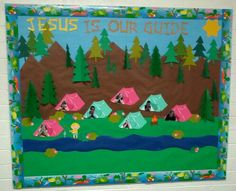 Spring Summer Camping Sunday School Bulletin Board