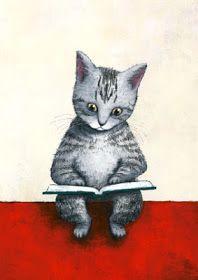cat reading by 米津祐介の (Yusuke Yonezu) Crazy Cat Lady, Crazy Cats, Photo Humour, Cat Reading, Image Chat, Illustration Art, Illustrations, Cat Art, Kitsch
