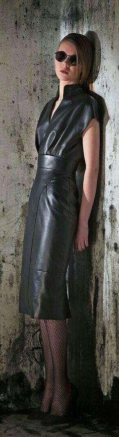 Basil Soda RTW F/W black leather dress Cute Fashion, Look Fashion, Winter Fashion, Womens Fashion, Street Fashion, Black Leather Dresses, Leather And Lace, Leather Skirt, Leder Outfits