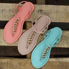 Braided Chains T-Strap Sandals