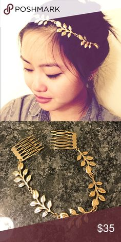 Gold Leaf Hair Accent beautiful piece to bring out your inner Greek goddess! Attaches on the sides with two combs to pull together the perfect messy bun or braids! ❤️❤️ Accessories Hair Accessories