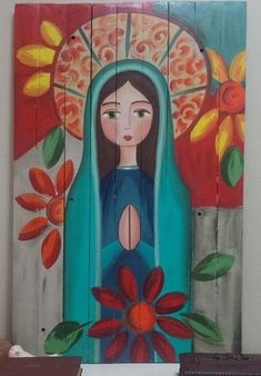 Catholic Art, Religious Art, Madonna, Mexican Paintings, Angel Artwork, Biblical Art, Mexican Folk Art, Sacred Art, Christian Art