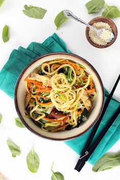 Vegan Zucchini Noodle Japchae- minor substitutions to make this Paleo use coconut aminos for soy Healthy Menu, Healthy Food Blogs, Healthy Eating, Healthy Recipes, Clean Eating, Zuchinni Recipes, Vegan Zucchini, Zucchini Noodles, Spiral Noodles