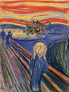 """""""Flying Spaghetti Monster"""" religion (Pastafarianism, is anti-creationism movement in public schools founded by Bobby Henderson in 2005) • wiki: http://en.wikipedia.org/wiki/Flying_Spaghetti_Monster • depicted: logo over art world parody on Edvard Munch's 1893 Expressionist """"The Scream"""" http://en.wikipedia.org/wiki/The_scream"""